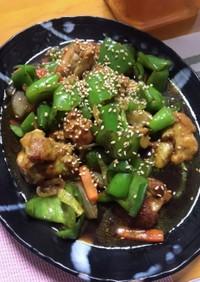 鶏モモ肉とピーマンの甘辛カレー炒め