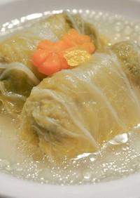 白だしで簡単*鶏と豆腐のロール白菜