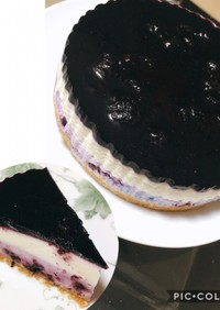 3層のブルーベリーレアチーズケーキ♪