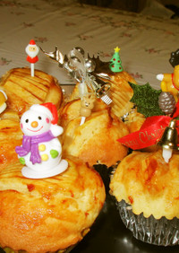 Xmasにふわふわのりんごカップケーキ!
