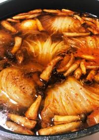 キムチ鍋の素でロール白菜