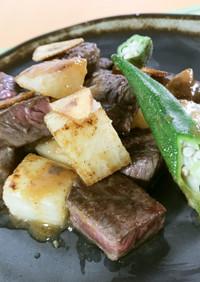牛肉と長芋のおろしぽん酢ステーキ