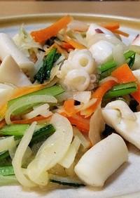 紋甲いか辛子酢味噌炒め。
