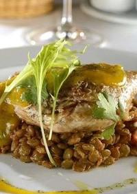 鴨とレンズ豆のカタルーニャ風
