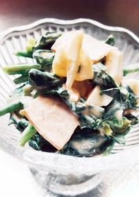 ほうれん草とゆで卵とハムの簡単サラダ