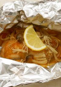 鮭のホイル焼きトマトときのこのソース