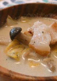 腸活♡白菜のジンジャー豆乳スープ