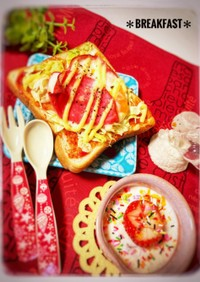 子供が喜ぶ朝食☆トーストと苺寒天プリン