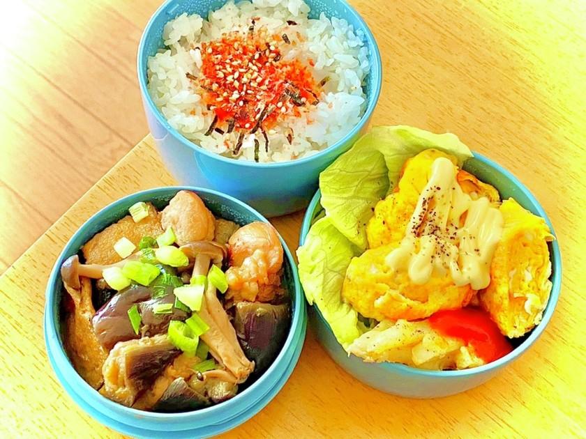 鶏ナスの煮物弁当^_^  タロの弁当80