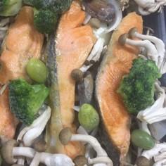 鮭の簡単アクアパッツァ。ホットプレートで