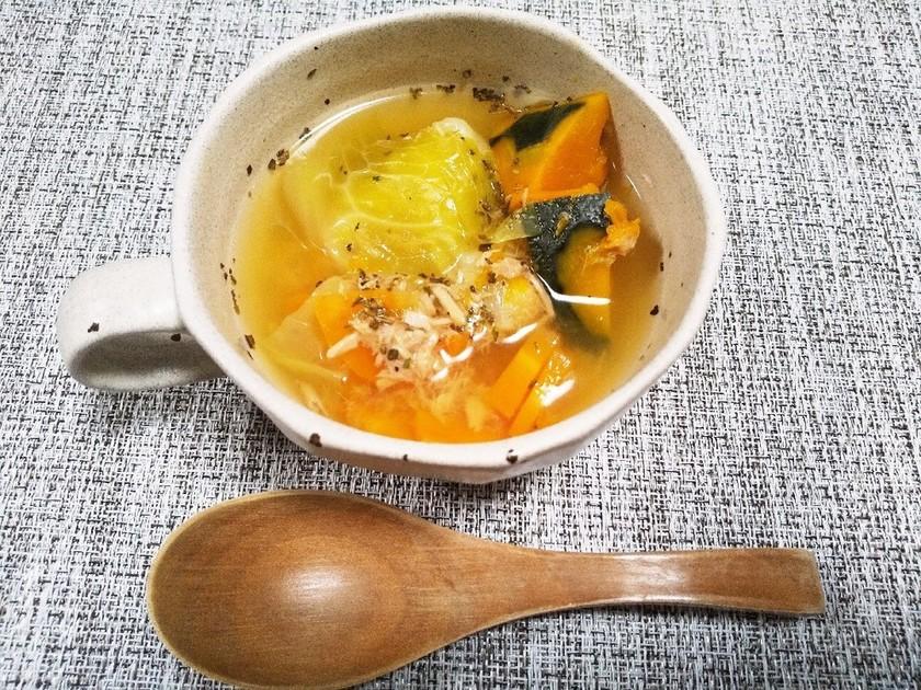 シーチキンと野菜のコンソメスープ