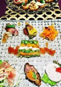 野菜とホタテとスモークサーモンのテリーヌ