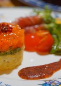 セルクルdeサーモンとポテトの前菜