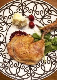 鶏もも肉のコンフィ(ラズベリーソース)