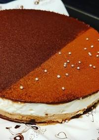2層のチョコチーズケーキ