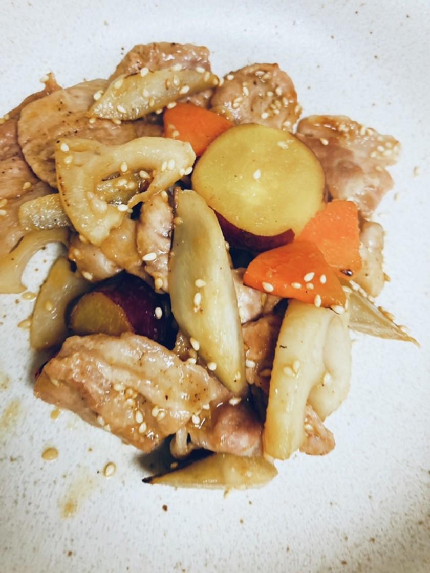 豚肉と根菜の味噌炒め