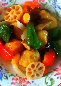肉団子と彩り野菜の中華風餡かけ