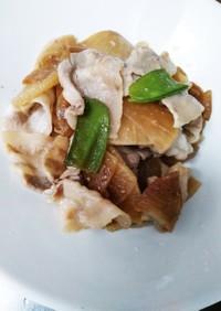 簡単に♪味しみ豚バラ肉と大根薄切り炒め