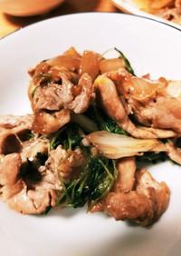 焼肉のたれで豚肉と豆苗のトロミ野菜炒め