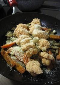 根菜と生たらこ♪バジル風味