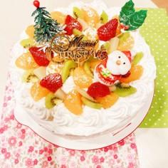 果物缶でデコレーションケーキ♡