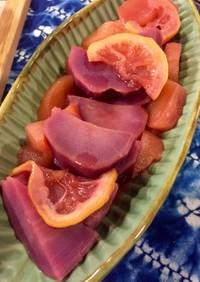 紫サツマイモとりんごのオレンジジュース煮