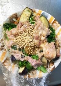 豆腐バーグ&カルビクッパ豚こま乗ドーム蒸