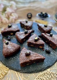 黒豆入りの濃厚チョコレートケーキ