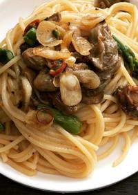牡蠣のオイル漬けとアスパのペペロンチーノ