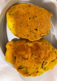 離乳食 かぼちゃと小松菜のパンケーキ