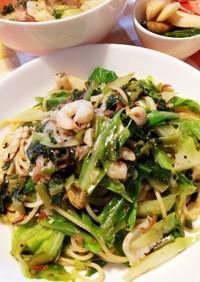 生ふりかけを使った野菜たっぷり中華パスタ
