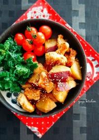 材料2つ簡単メイン☆鶏と薩摩芋の甘辛炒め