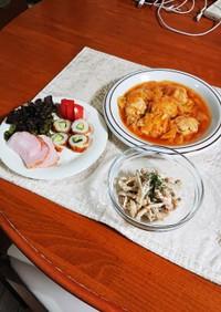 夕食にごぼうサラダ、鶏団子の中華風