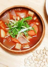 節分豆活用♪お豆トマトスープ