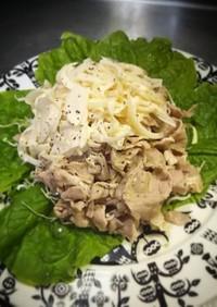 茹で豚のオニオン マヨ山葵ソースがけ