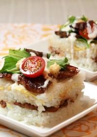 牛乳パックで簡単☆焼肉ケーキ風ちらし寿司