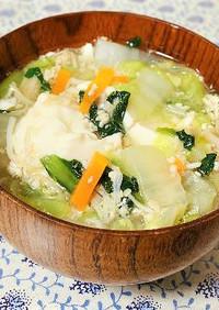 具沢山!白菜と豆腐の鶏ひき肉入りスープ