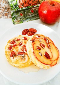 ピーカンとりんご/バナナのホットケーキ