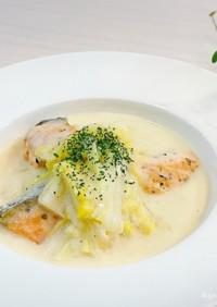 フライパンde簡単♡鮭と白菜のクリーム煮