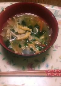 冷蔵庫の中の野菜類の余りのお掃除味噌汁