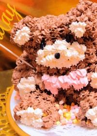 可愛いクマのチョコレート立体3Dケーキ