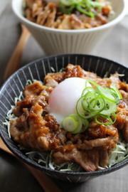 きび酢ドレッシングで豚の生姜焼き丼の写真