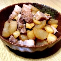 豚バラと大根の炒め煮+じゃがいも