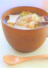 豚バラ肉と白菜とエリンギの春雨スープ