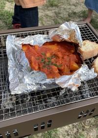 豚ロース肉のアルミホイルトマト煮込み