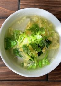 とろとろポカポカ!野菜と卵の春雨スープ