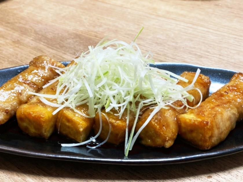 厚揚げ豆腐の甘辛豚バラ巻き