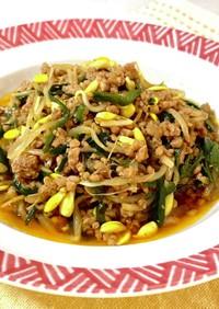 肉ニラ豆もやしの韓国風とろみ炒め