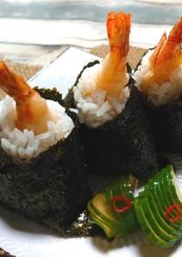 ◆お弁当に♪ちょこっと海老天むす