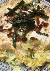 減量飯 鶏むね肉とキャベツのお好み焼き風